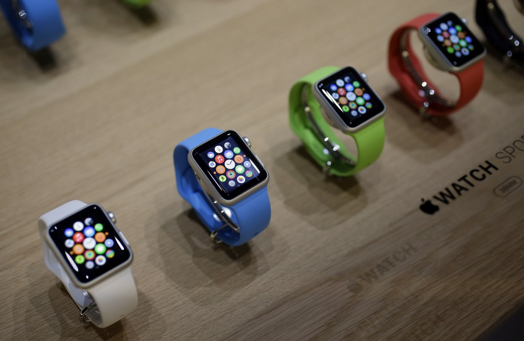 Varieties of the Apple Watch are on display in the demo room after the Apple media event on Monday, March 9, 2015, in San Francisco. (AP Photo/Eric Risberg)