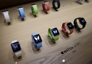 Varieties of the Apple Watch Sport are on display in the demo room after the Apple media event on Monday, March 9, 2015, in San Francisco. (AP Photo/Eric Risberg)