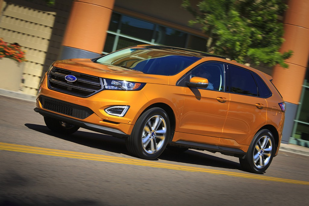 The 2015 Ford Edge midsize crossover adds more capability but does not improve its fuel economy over the outgoing model. (Ford)