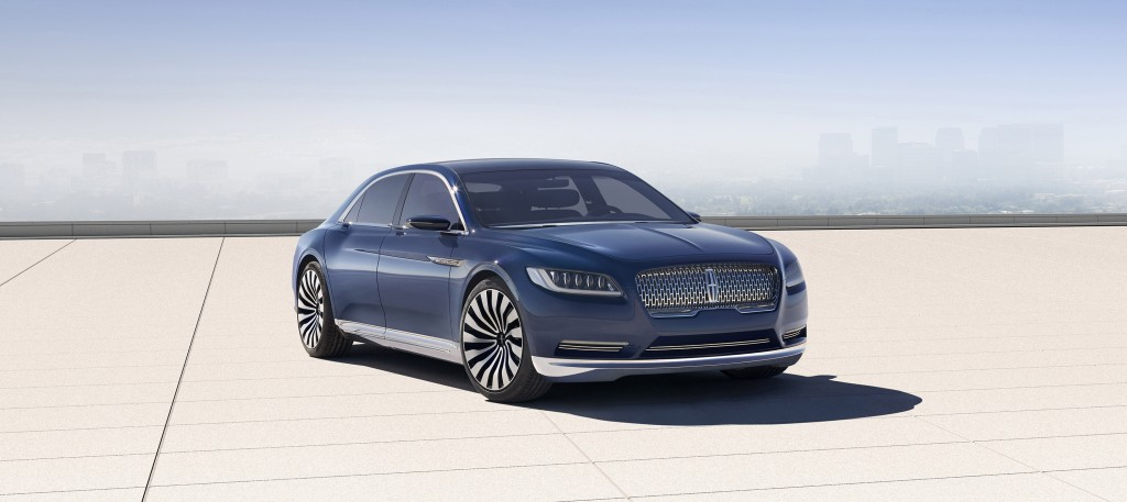 With a sleek silhouette and a new centered chrome grille, the Continental Concept signals the arrival of a new face for Lincoln. (Ford Motor Company)