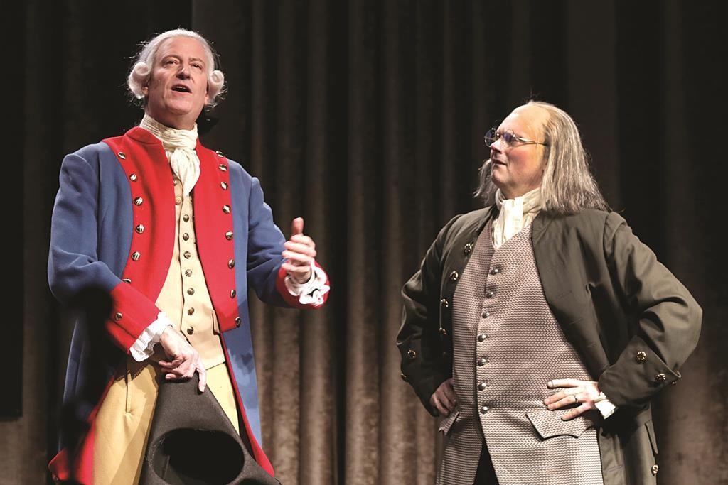 Mayor Bill de Blasio (L) performs Saturday in the annual Inner Circle show in New York. (AP Photo/Richard Drew)