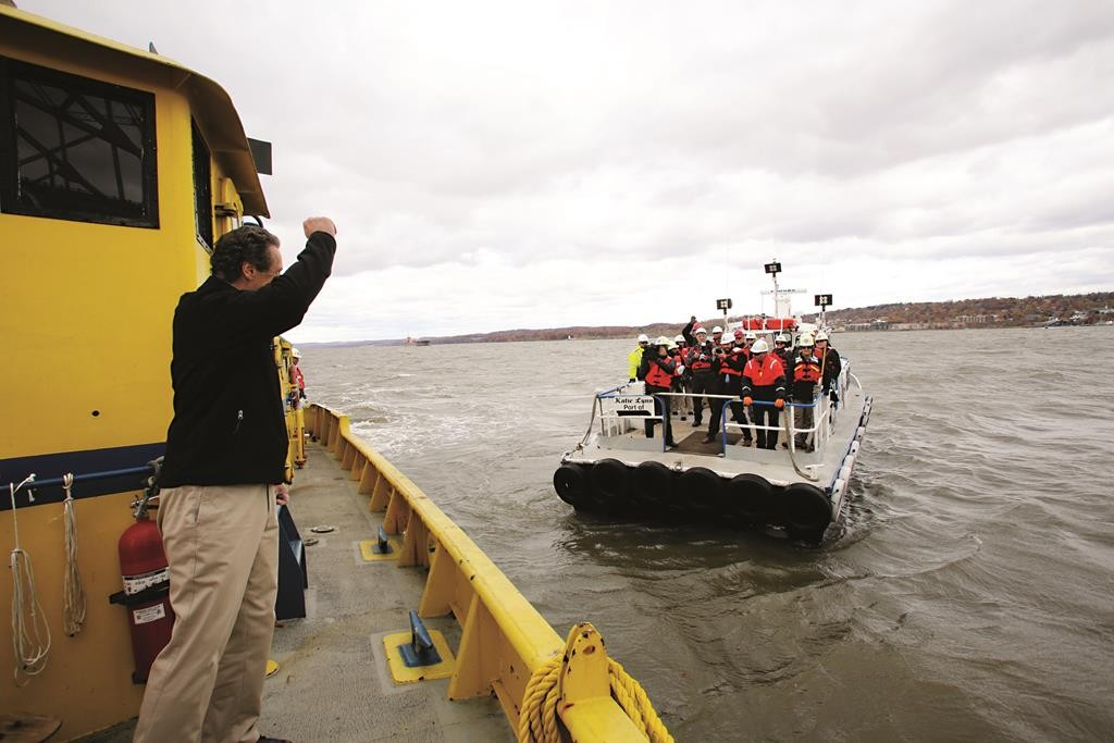 Gov. Andrew Cuomo inspects the start of construction on the Tappan Zee Bridge last year.