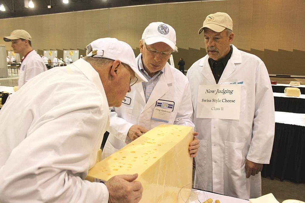 Judges on Tuesday inspect a Swiss cheese during the 2015 United States Championship Cheese Contest in Milwaukee. (AP Photo/Carrie Antlfinger)