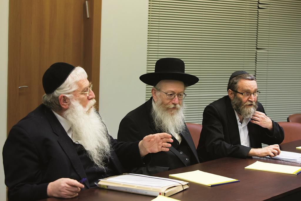 UTJ MKs Rabbi Meir Porush, Rabbi Yaakov Litzman and Rabbi Moshe Gafni.  (Miriam Alster/FLASH90)