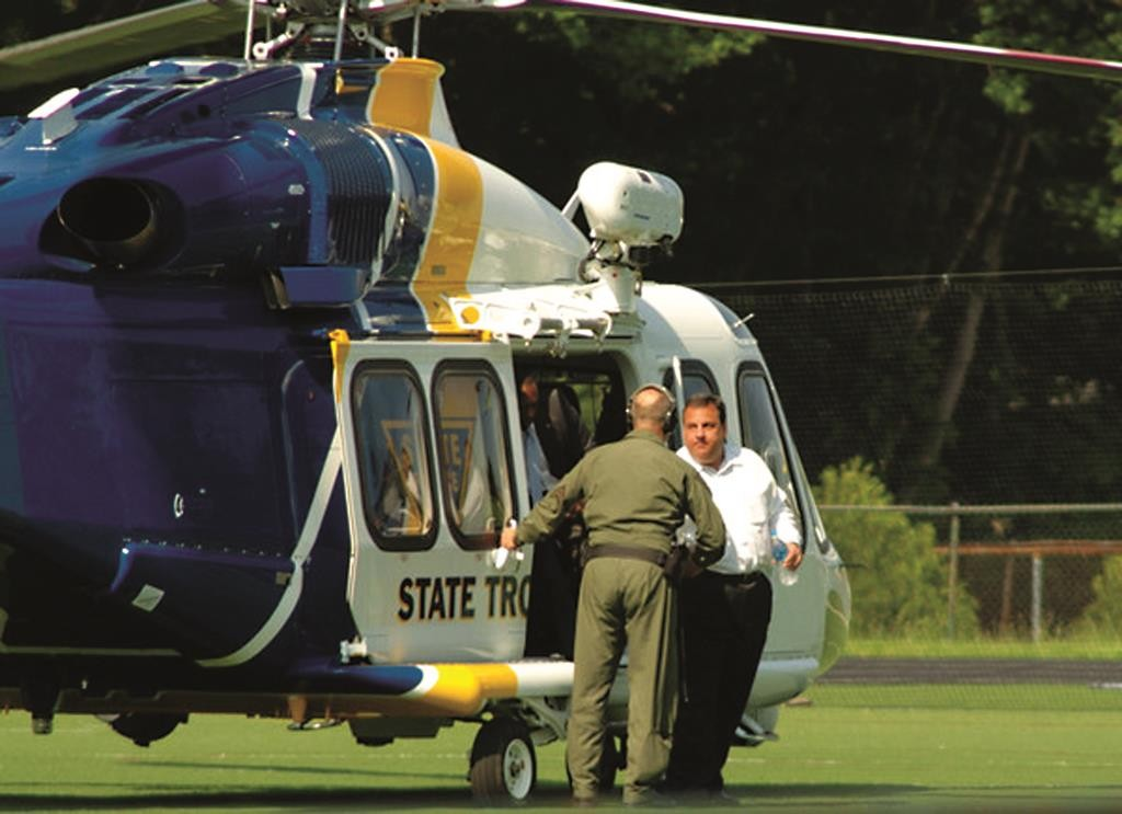 Gov. Chris Christie gets off a State Police helicopter to watch his son's baseball game in 2011.