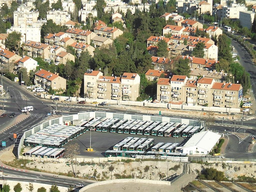 The Egged bus depot in Kiryat Moshe, Yerushalayim.