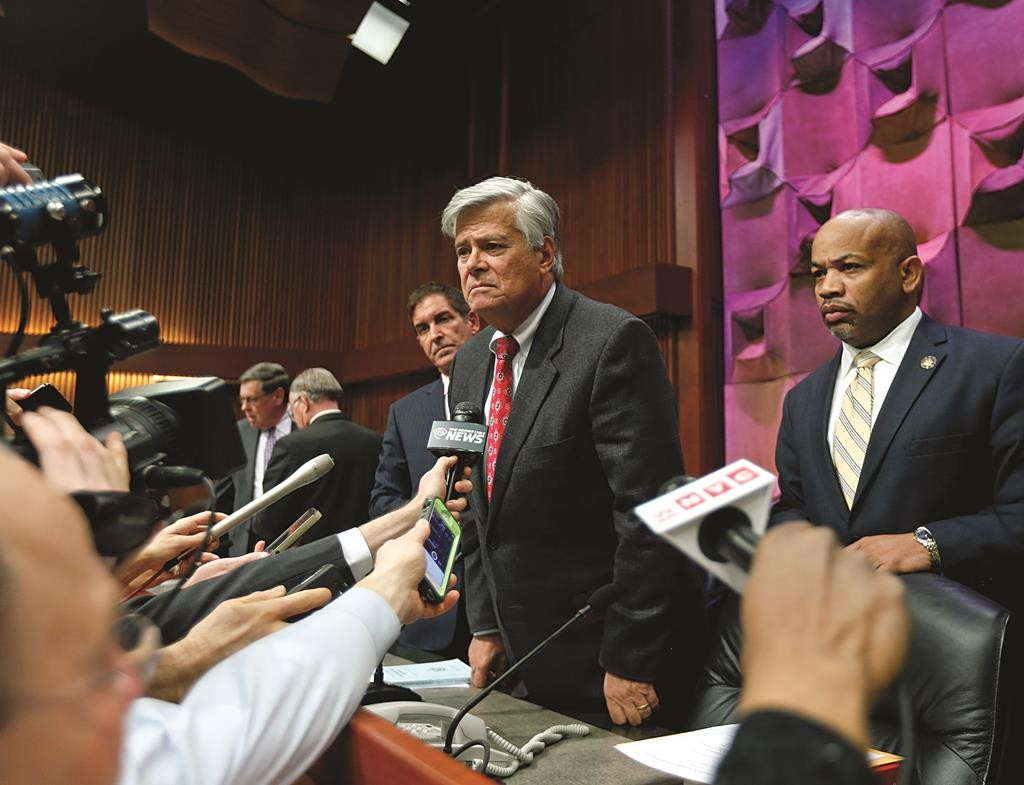 emocratic Conference Leader Sen. Jeff Klein, left, Senate Republican leader Dean Skelos, center, and Assembly Speaker Carl Heastie talk to reporters Thursday after a budget meeting in Albany. (AP Photo/Mike Groll Independent)