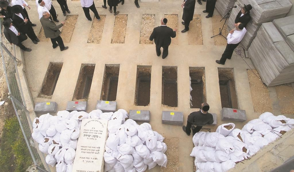 """An aerial view showing the prepared graves at Har Hamenuchos in Yerushalayim for Elaine, a""""h, 16; David, z""""l, 12; Rivka, a""""h, 11; Yehoshua, z""""l, 10;  Moshe, z""""l, 8; Sarah, a""""h, 6; and Yaakov, z""""l, 5. The seven Sassoon children were buried there on Monday. (REUTERS/Baz Ratner)"""