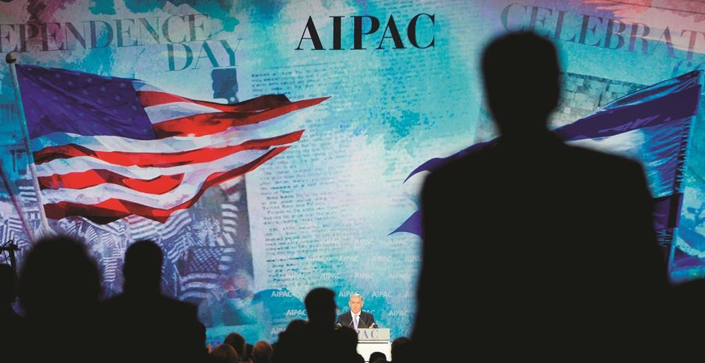 Israeli Prime Minister Binyamin Netanyahu receives a standing ovation from members of the audience during his speech at the American Israel Public Affairs Committee (AIPAC) Policy Conference in Washington, Monday. (AP Photo/Pablo Martinez Monsivais)
