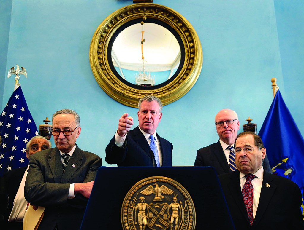 New York's House delegation on Monday met with Mayor Bill de Blasio in City Hall. (AP Photo/Seth Wenig)