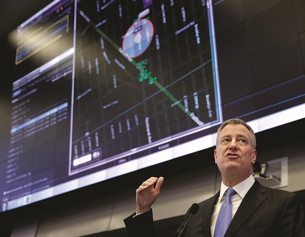 Mayor Bill de Blasio speaks Monday during a news conference about ShotSpotter at police headquarters. (AP Photo/Seth Wenig)