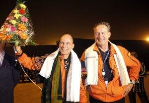 Bertrand Piccard, left, and André Borschberg at the airport in Ahmadabad, India. (AP Photo/Ajit Solanki)