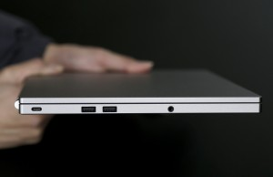 From left, the USB Type-C port, two standard USB ports and headphone jack on a Google Chromebook Pixel laptop. (AP Photo/Jeff Chiu)