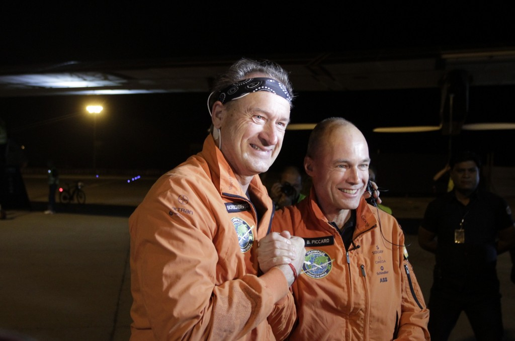 Swiss pilots and founders of Solar Impulse 2 Andre Boschberg, left, and Bertrand Piccard. (AP Photo/Ajit Solanki)