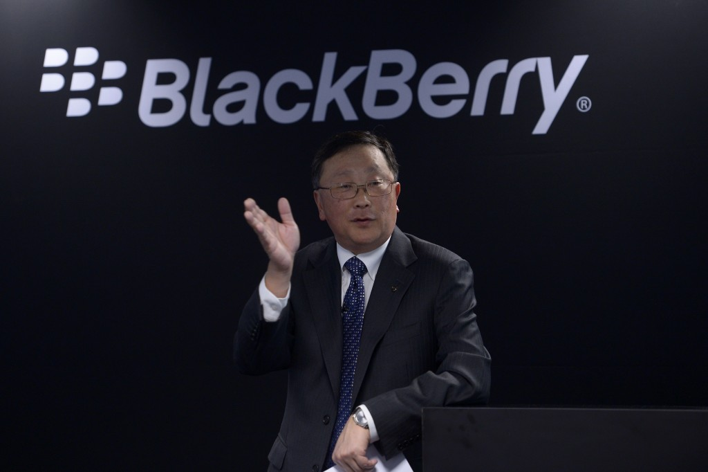 BlackBerry Executive Chairman and CEO John Chen speaks during a presentation at the Mobile World Congress wireless show in Barcelona, Spain, on Tuesday, March 3, 2015. (AP Photo/Manu Fernandez)