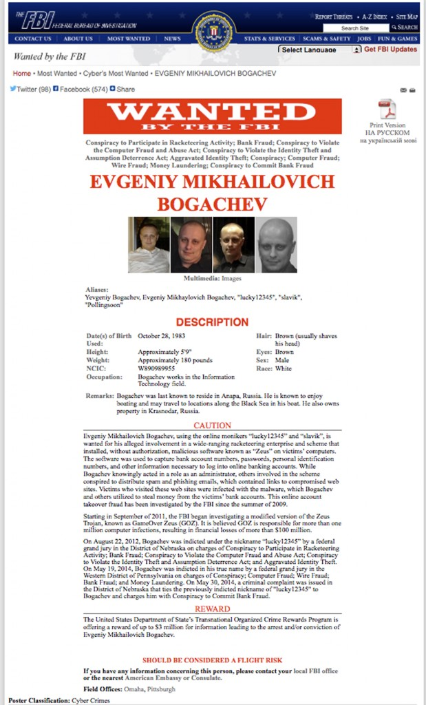 """This image provided by the FBI shows the FBI's """"Wanted"""" poster of Evgeniy Bogachev. The FBI considers Bogachev one of the world's most prolific and brilliant cybercriminals. (AP Photo/FBI)"""