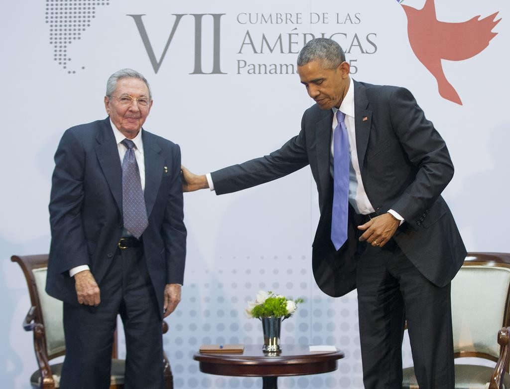 President Barack Obama with Cuban President Raul Castro during their meeting at the Summit of the Americas in Panama City, Panama, on Saturday. (AP Photo/Pablo Martinez Monsivais)