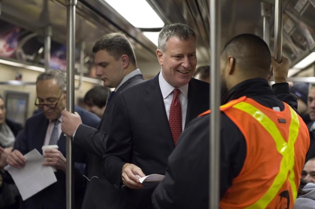 Mayor Bill de Blasio on April 9 rides the subway to City Hall. (Rob Bennett/Mayoral Photography Office)