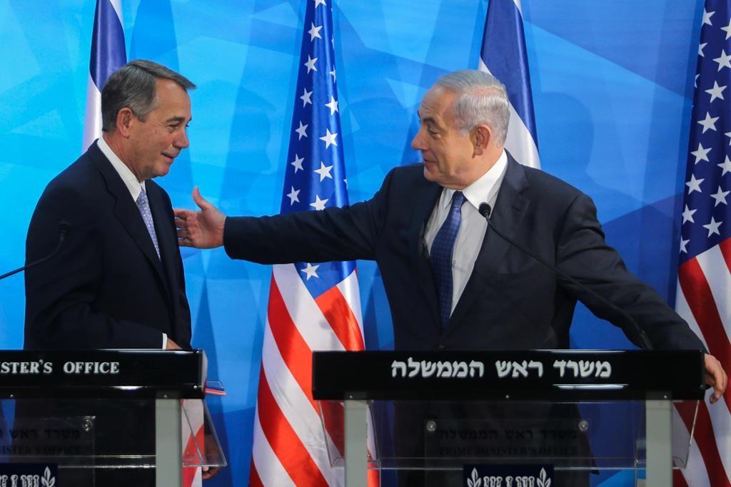 Israeli Prime Minister Binyamin Netanyahu (R) with U.S. House of Representatives Speaker John Boehner during a joint press conference at the Prime Minister's Office on Wednesday. (Alex Kolomoisky/POOL)