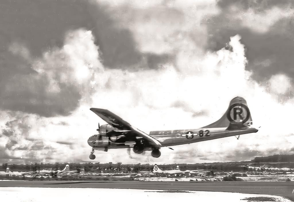 The Enola Gay landing after the atomic bombing mission on Hiroshima, Japan, in August 1945. (U.S. Air Force)