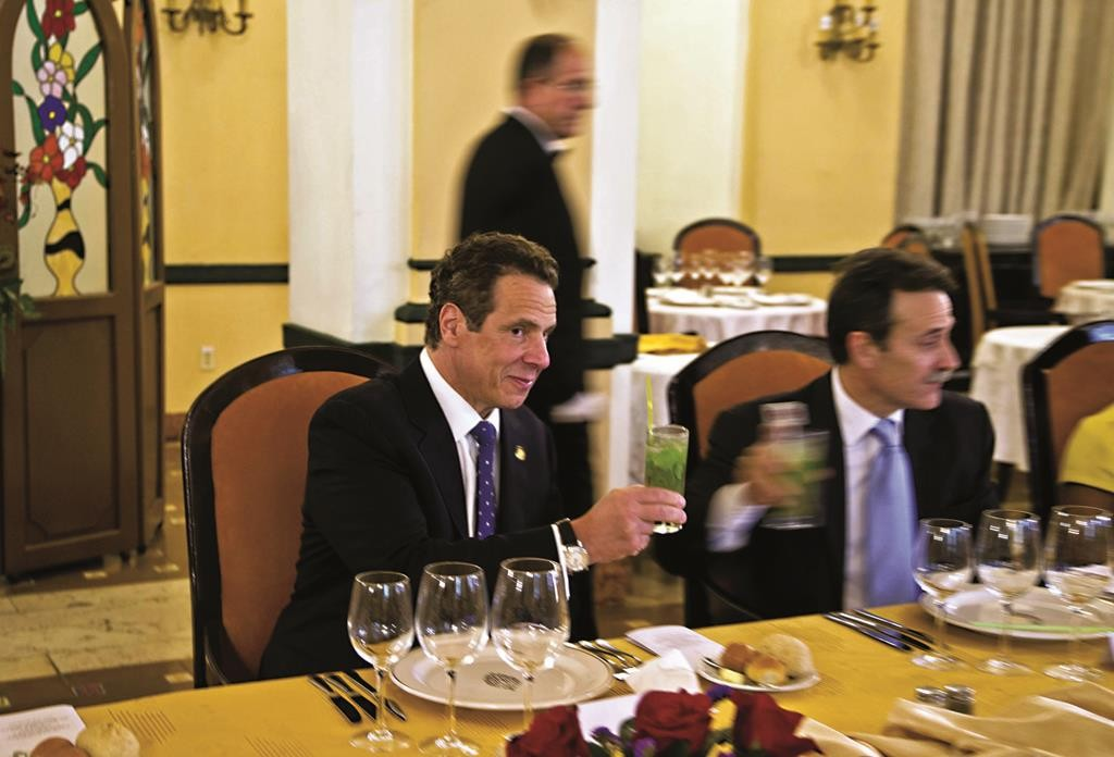 Gov. Andrew Cuomo on Monday makes a toast with a mojito during a meeting at the Hotel Nacional in Havana. (AP Photo/Ramon Espinosa)