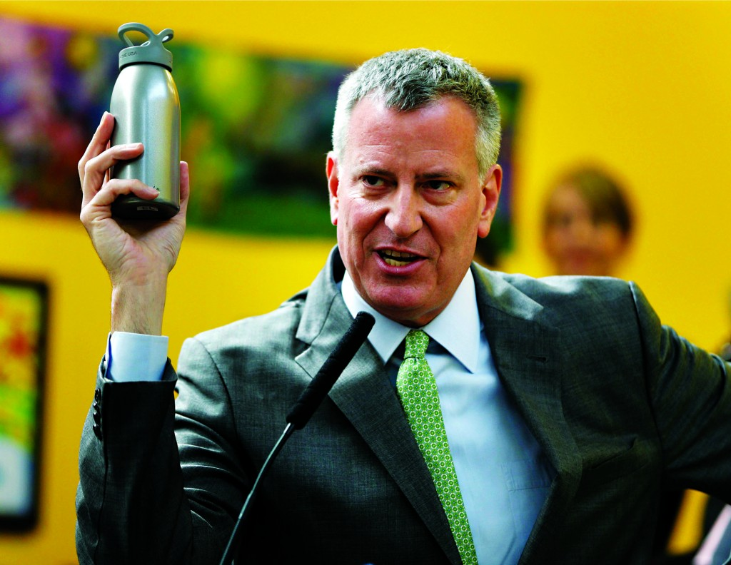 A recycling center on the Brooklyn waterfront on Wednesday, as Mayor Bill de Blasio announced that by 2030, New York will cut its garbage by 90 percent. (AP Photo/Seth Wenig - Spencer Platt/Getty Images)