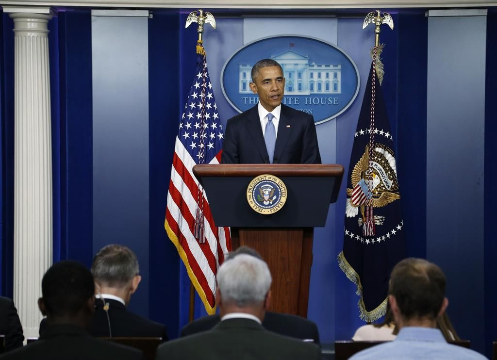 President Obama delivers a statement in the Brady Press Briefing Room at the White House in Washington. Obama on Thursday apologized for the unintentional deaths of two aid workers during a January counterterrorism operation. The two, al-Qaida  hostages, were Warren Weinstein, an American Jew, and Giovanni lo Porto, of Italy.  (REUTERS/Jonathan Ernst)