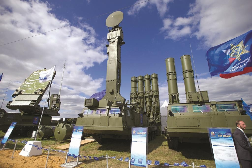 The Russian air defense missile system Antey 2500, or S-300 VM, is seen on display at the opening of the MAKS Air Show in Zhukovsky outside Moscow. The Kremlin says Russia has lifted its ban on the delivery of sophisticated air defense missile systems to Iran. (AP Photo/Ivan Sekretarev, File)