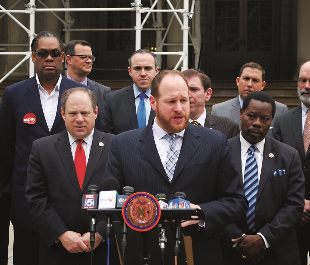 Councilman David Greenfield addressing a rally to press the city to provide security for non-public schools. (Office of Councilman Greenfield)