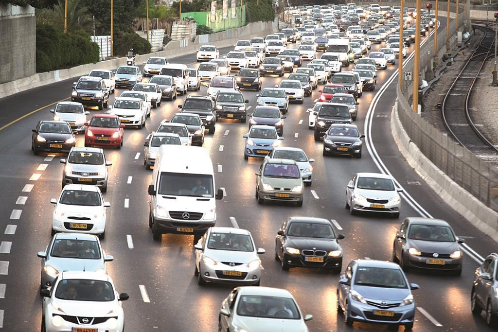 Israel's population surpassed 8.3 million in 2014. Many of them can be found on the highways at any given time. A view of the traffic jams all over Israel, as people drove to friends and family ahead of Rosh Hashanah. (Flash90)
