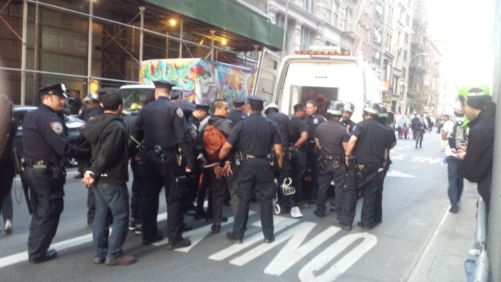 Protesters in Manhattan's Union Square are arrested Wednesday night by police.