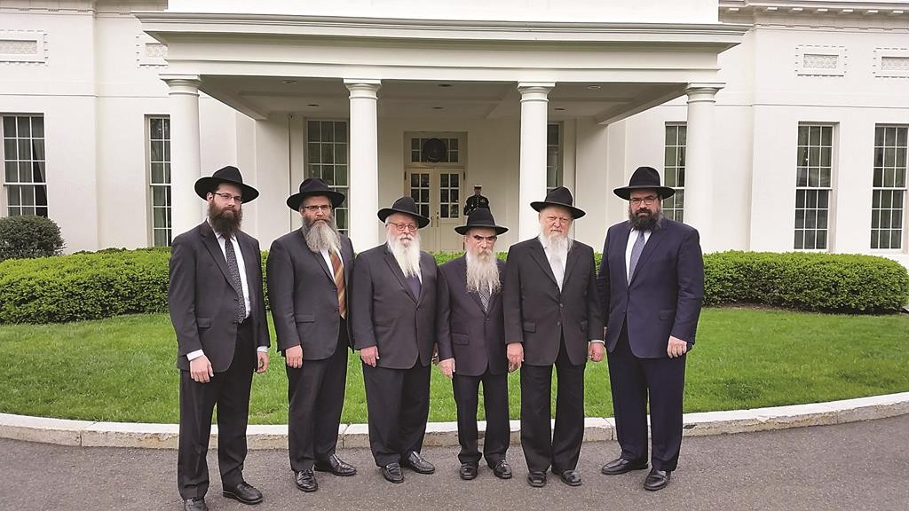 L-R: Rabbi Meir Shimon Moscowitz, regional director, Lubavitch Chabad of Illinois; Rabbi Yossy Gordon, executive vice president of the Chabad on Campus International Foundation; Rabbi Yisroel Shmotkin, executive director of Lubavitch of Wisconsin; Rabbi Avrohom Shemtov, executive chairman of Agudas Chassidei Chabad–Lubavitch; Rabbi Moshe Herson, director of Lubavitch of New Jersey Regional Headquarters; and Rabbi Levi Shemtov, executive vice president of American Friends of Lubavitch.