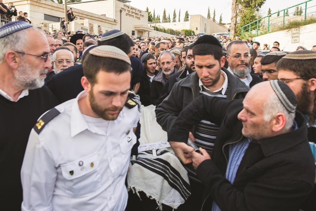 """At the levayah of Shalom Yohai Sherki, Hy""""d, on Thursday. (Flash90 )"""