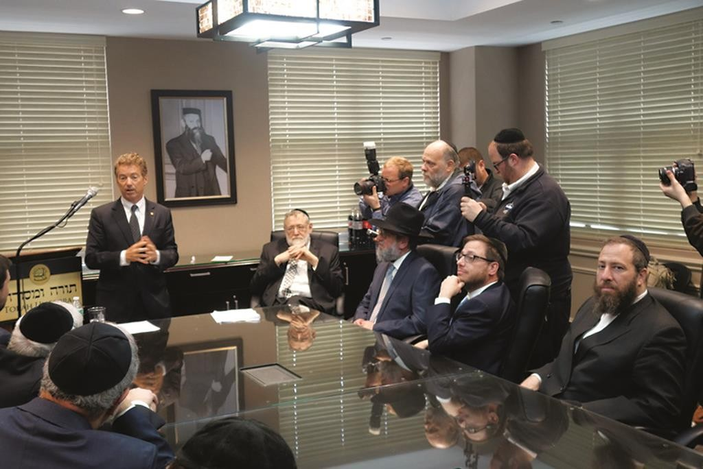 Sen. Rand Paul on Monday addressing Torah Umesorah members at its Midwood office.