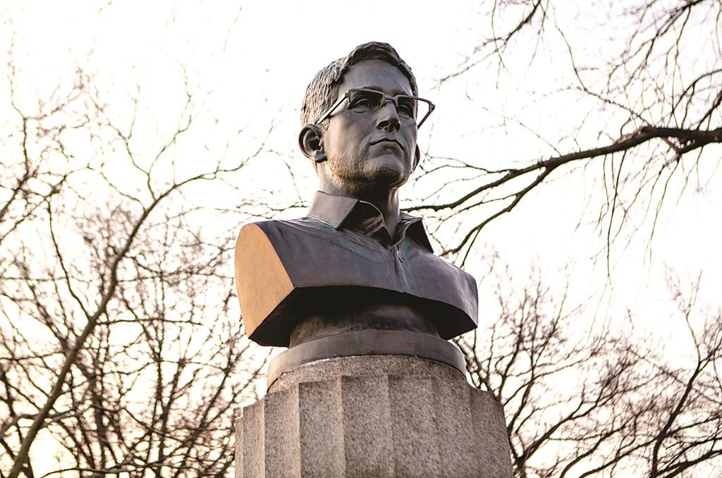 A bust of Edward Snowden in Fort Greene Park, which briefly held court last Monday. (AP Photo/Aymann Ismail/Animal New York)