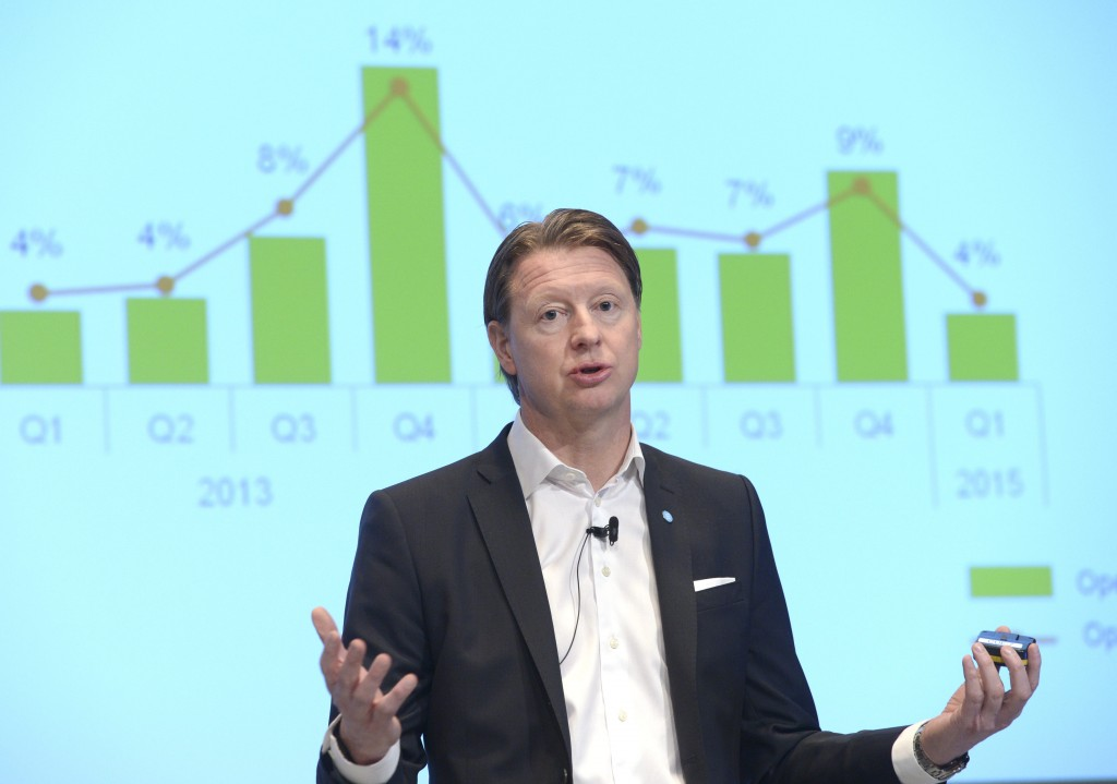 Ericsson CEO Hans Vestberg presents the company's earnings report during a press conference in Stockholm on Thursday, April 23, 2015. (Fredrik Sandberg/TT Newsagency via AP)