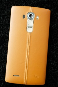 The leather-covered LG G4. (AP Photo/Mark Lennihan)