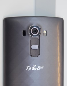 The camera on the LG G4 is displayed at its introduction on Tuesday, April 28, 2015 in New York. The camera boasts manual controls typically limited to full-bodied SLR cameras. (AP Photo/Mark Lennihan)
