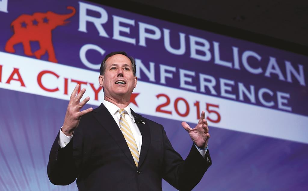 Former Pennsylvania Sen. Rick Santorum speaks at the Southern Republican Leadership Conference in Oklahoma City on Thursday,  May 21. (AP Photo/Alonzo Adams)