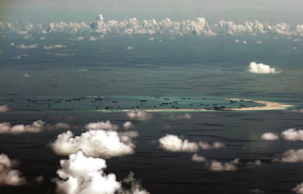 China's alleged ongoing reclamation of lands in the Spratly Islands in the South China Sea. (Ritchie B. Tongo/Pool Photo via AP)