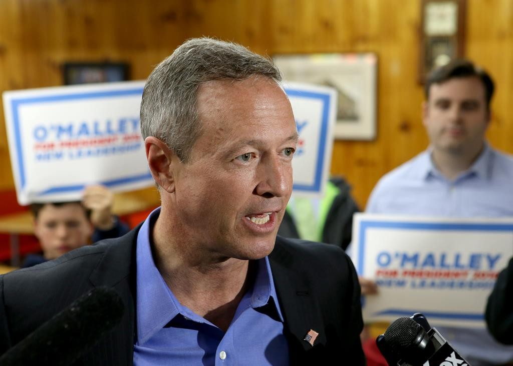 Former Maryland Gov. Martin O'Malley speaks to the media during a campaign stop at Goldenrod Drive-in Restaurant, Sunday, in Manchester, N.H.  (AP Photo/Mary Schwalm)