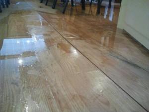 Floor buckling in the Meyerland Minyan building.