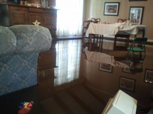 The flooded dining room of a Houston community member.