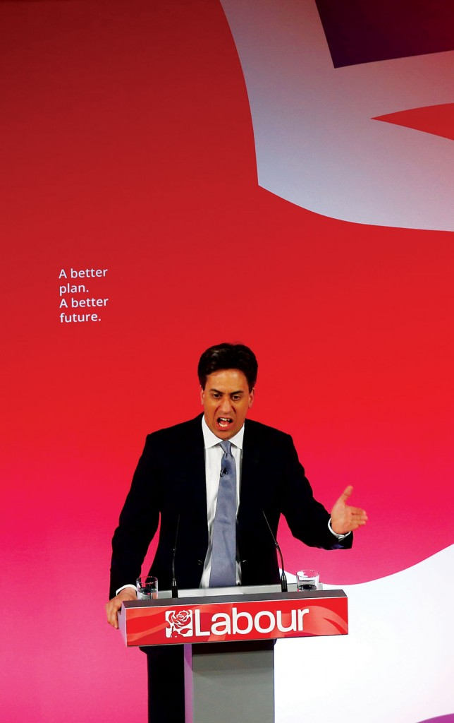 Britain's Labour Party's leader Ed Miliband speaks at his final campaign event in Leeds, northern England, Wednesday (REUTERS/Darren Staples)