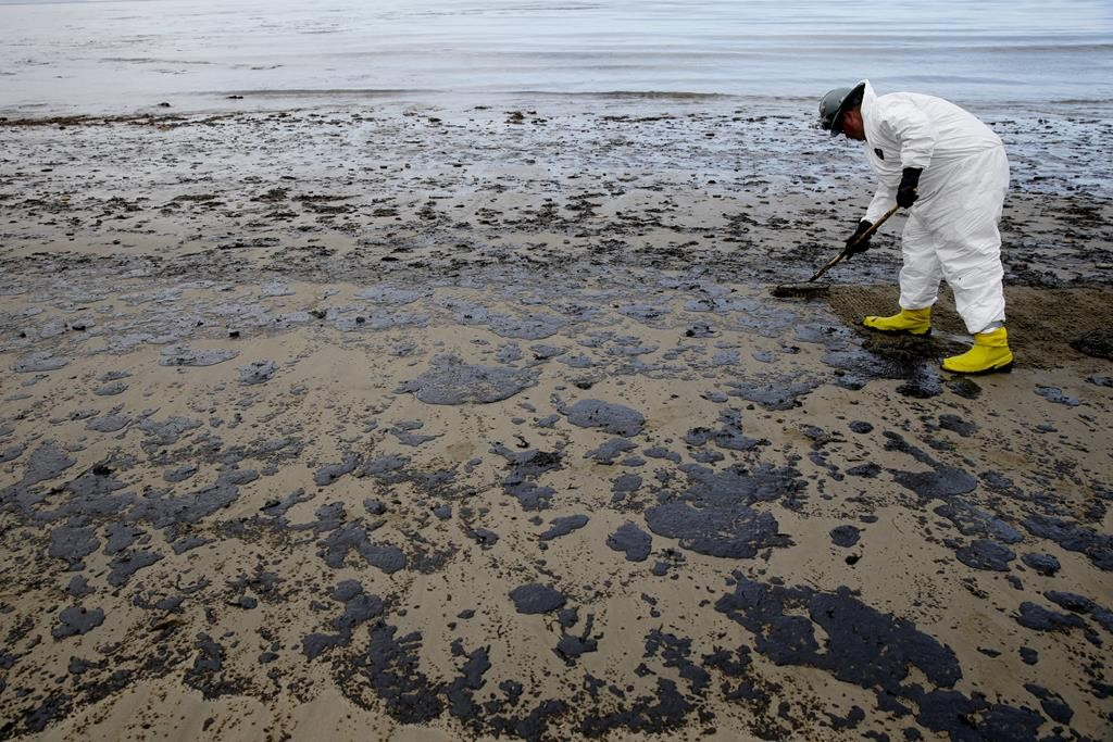 A worker removes oil from the beach at Refugio State Beach, north of Goleta, Calif., Thursday. (AP Photo/Jae C. Hong)