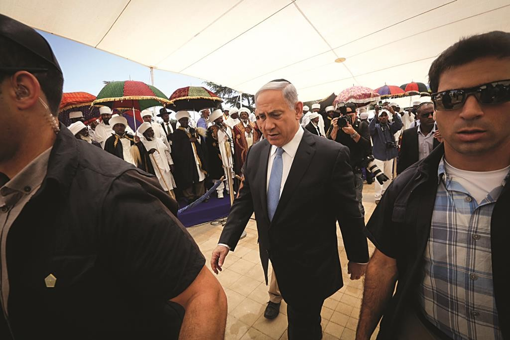 Prime Minister Benjamin Netanyahu attends a memorial ceremony in remembrance of Jewish Ethiopians who fell on their trip from Ethiopian to Israel, on Mount Herzl, May 17, 2015. Photo by Gil Yochanan/POOL