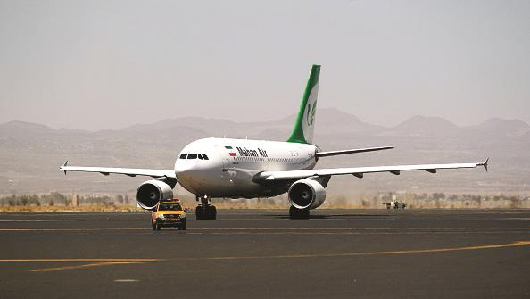 An airplane of Mahan Air, named in reports of Iran sanctions violations. (MOHAMMED HUWAIS/AFP/Getty Images)
