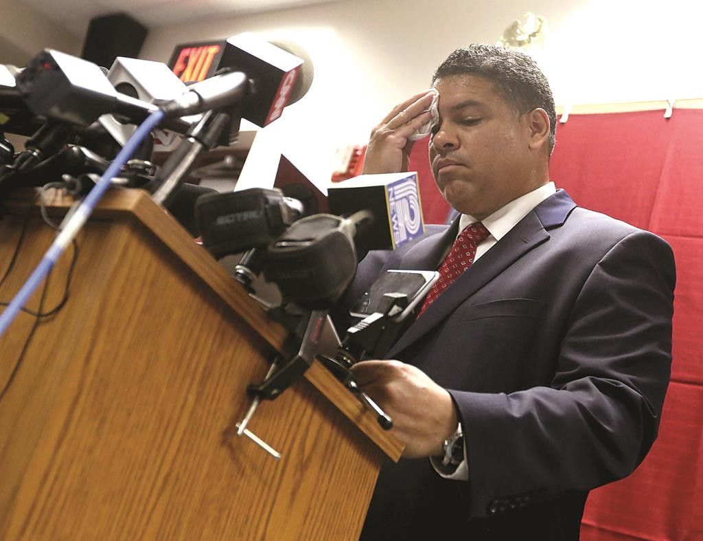 Dane County District Attorney Ismael Ozanne speaks during a press conference at the Dane County Public Safety Building in Madison, Wis. Tuesday. (John Hart/Wisconsin State Journal via AP)