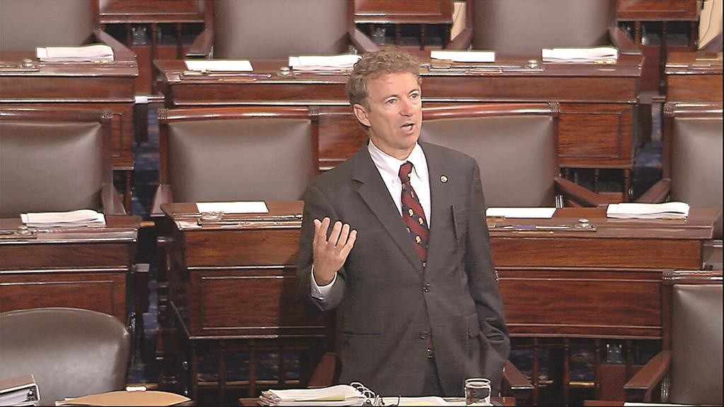 In this image from Senate video, Sen. Rand Paul (R-Ky.) and a Republican presidential contender, speaks on the floor of the U.S. Senate Wednesday afternoon, May 20, at the Capitol in Washington, during a long speech opposing renewal of the Patriot Act. (Senate TV via AP)