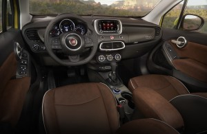 The 2016 Fiat 500X has an impressively quiet interior, nicely textured with a modern design aesthetic. (Fiat)